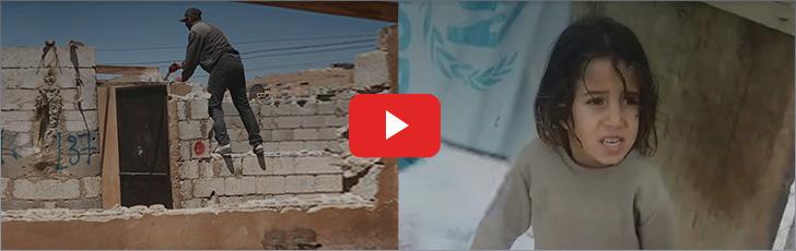 폭설 속 지붕 없는 집에서 겨울을 보내는 시리아 아이들